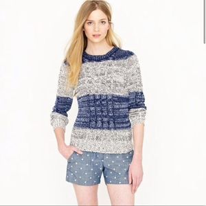 J. Crew Marled Cable Pullover Sweater M Blue Knit
